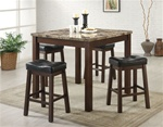 Kamra 5 Piece Counter Height Dining Set in Brown Cherry Finish by Coaster - 150302