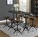 5 Piece Oval Bar Table Set in Wire Brushed Black Finish by Coaster - 182271