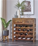 Wine Cabinet in Natural Sheesham by Coaster - 182400