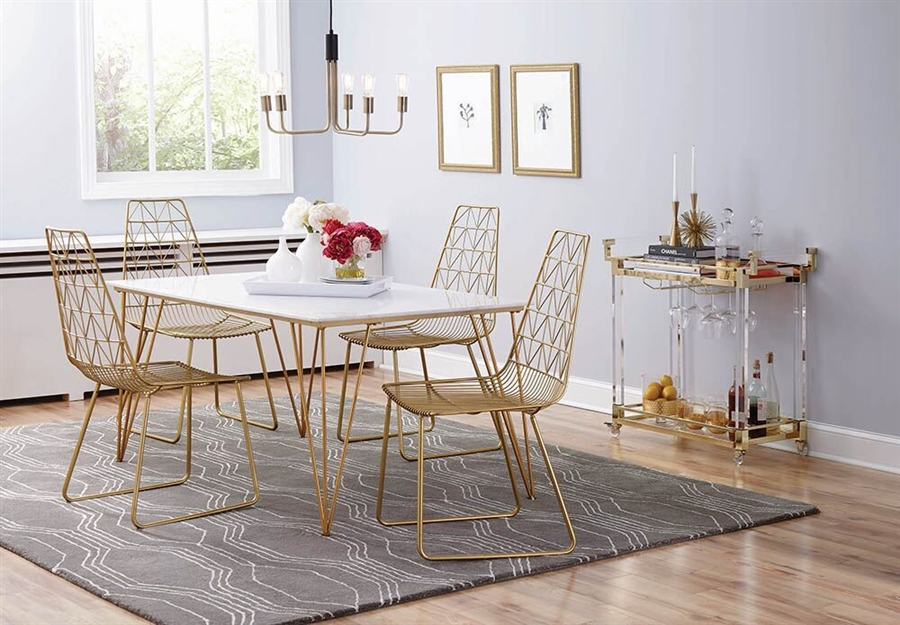 Anastasia 5 Piece Dining Table Set In