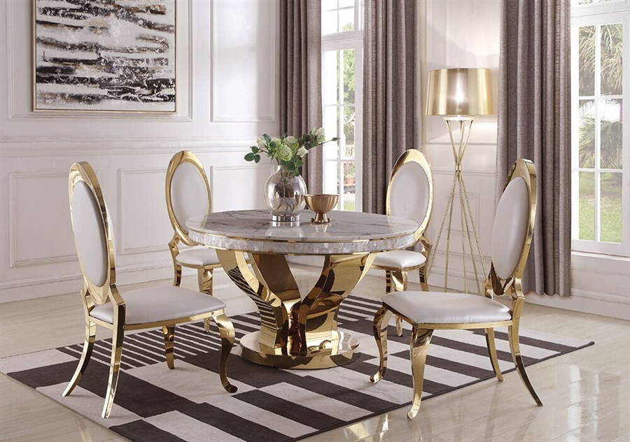 Kendall 5 Piece Dining Set in Gold Finish by Coaster - 190381
