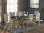 Conway 5 Piece Dining Set in Dark Walnut and Aged Gold Finish by Coaster - 191991