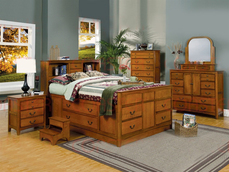 Olivia 7 Piece Bookcase Bed Bedroom Set in Medium Oak Finish by ...