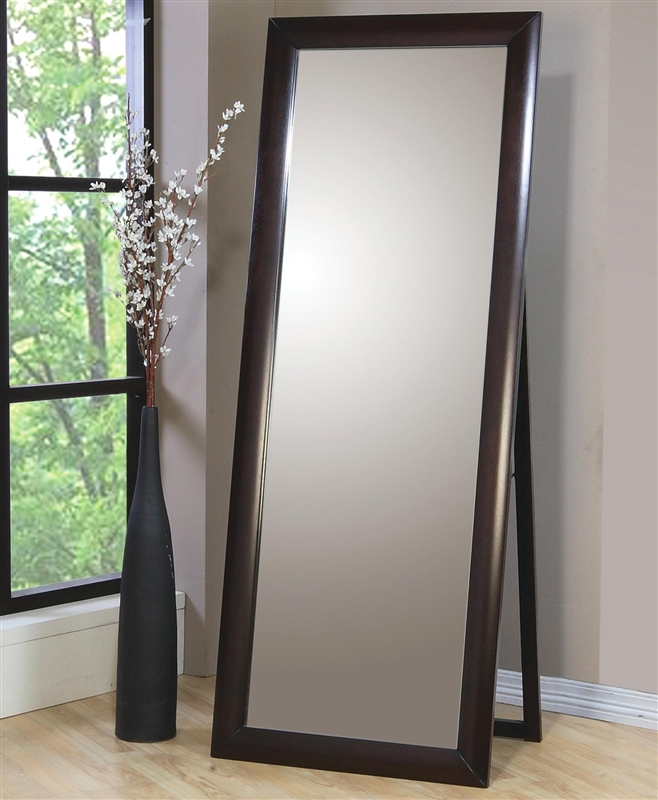 Phoenix Standing Floor Mirror In Rich Deep Cappuccino Finish By Coaster 200417