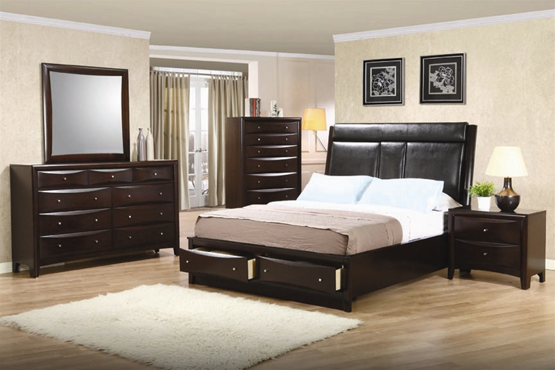 Phoenix Storage Platform Bed 6 Piece Bedroom Set in Rich Deep Cappuccino  Finish by Coaster   200419. Phoenix Storage Platform Bed 6 Piece Bedroom Set in Rich Deep