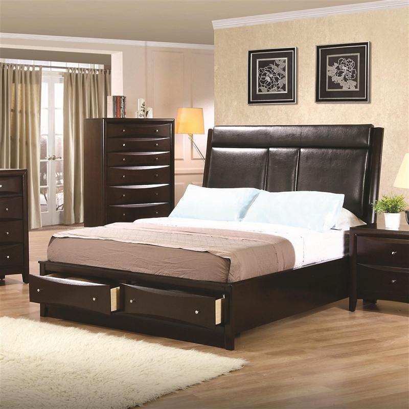 Phoenix Storage Platform Bed 6 Piece Bedroom Set In Rich Deep Cappuccino  Finish By Coaster   200419