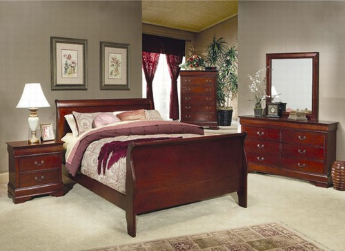 Louis Philippe 6 Piece Bedroom Set In Cherry Finish By Coaster 200431
