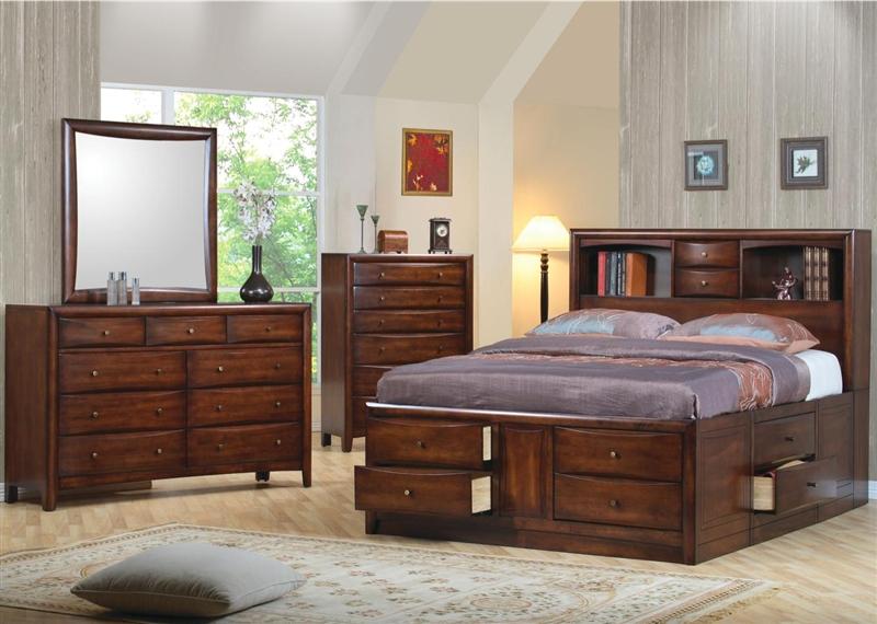 Hillary Storage Bookcase Bed 6 Piece Bedroom Set in Warm Brown ...