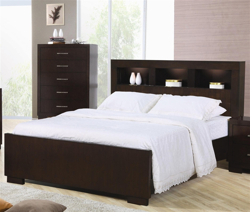 Jessica Bookcase Bed 6 Piece Bedroom Set in Cappuccino Finish by ...