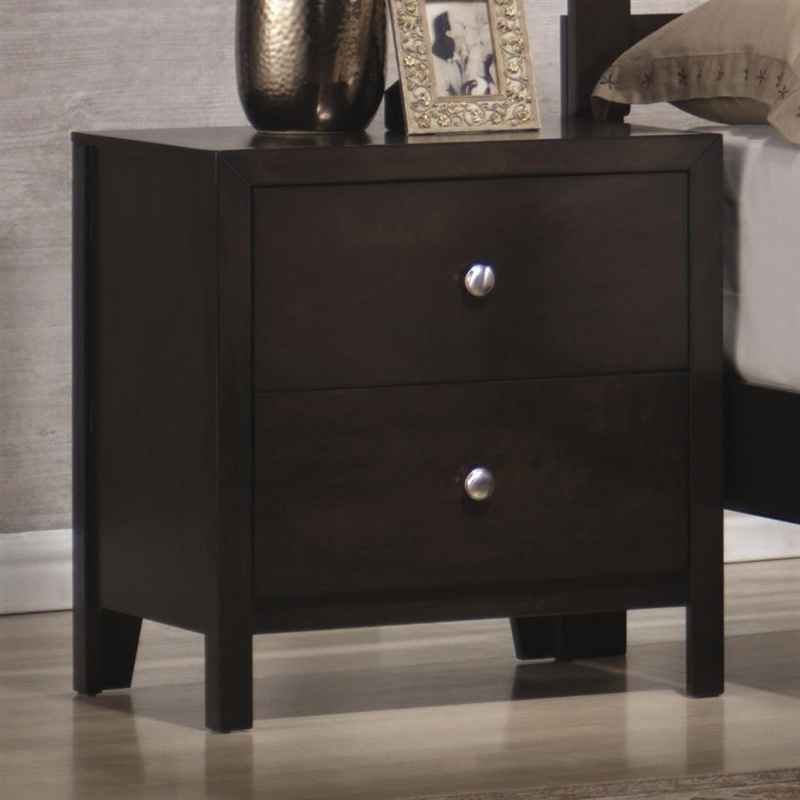newest collection 084e7 7ce2d Zoe Nightstand in Rich Dark Brown Finish by Coaster - 200802