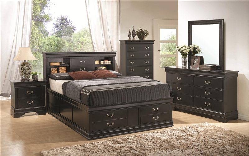 Louis Philippe Storage Bed 6 Piece Bedroom Set in Black Finish by ...