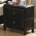 Danielle Nightstand in Black Bycast Like Vinyl Upholstery by Coaster - 201262