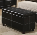 Danielle Bench in Black Bycast Like Vinyl Upholstery by Coaster - 201266