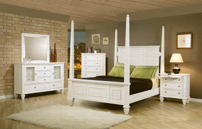 Piece Sandy Beach Bedroom Set with Poster Bed in White Finish by ...