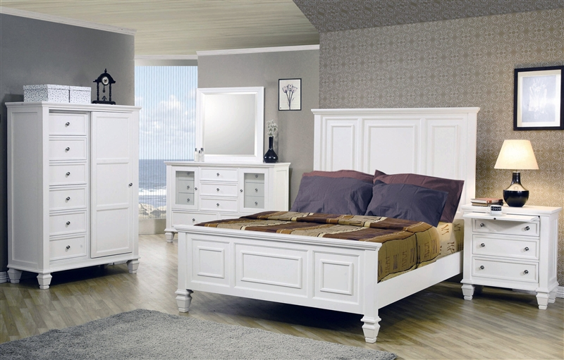 Admirable Sandy Beach Panel Bed 6 Piece Bedroom Set In White Finish By Coaster 201301 Download Free Architecture Designs Photstoregrimeyleaguecom