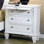 Sandy Beach 3 Drawer Nightstand in White Finish by Coaster - 201302