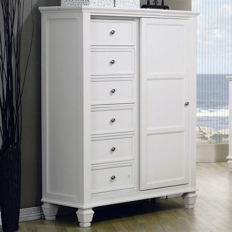 Delicieux Sandy Beach 8 Drawer Chest With Sliding Door In White Finish By Coaster    201307
