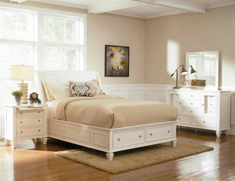 Beach Storage Bed 6 Piece Bedroom Set in White Finish by Coaster ...