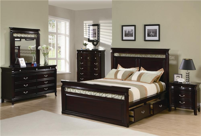Manhattan 6 Piece Bedroom Set in Rich Espresso Finish by Coaster ...