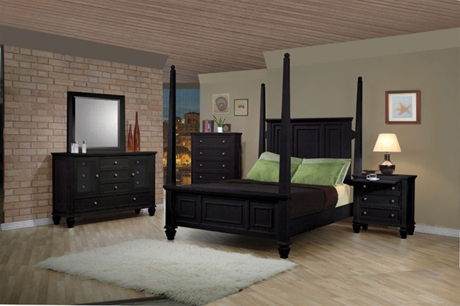 6 Piece Sandy Beach Bedroom Set with Poster Bed in Black Finish by Coaster  - 201320