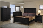 Sandy Beach Panel Bed 6 Piece Bedroom Set in Black Finish by Coaster - 201321