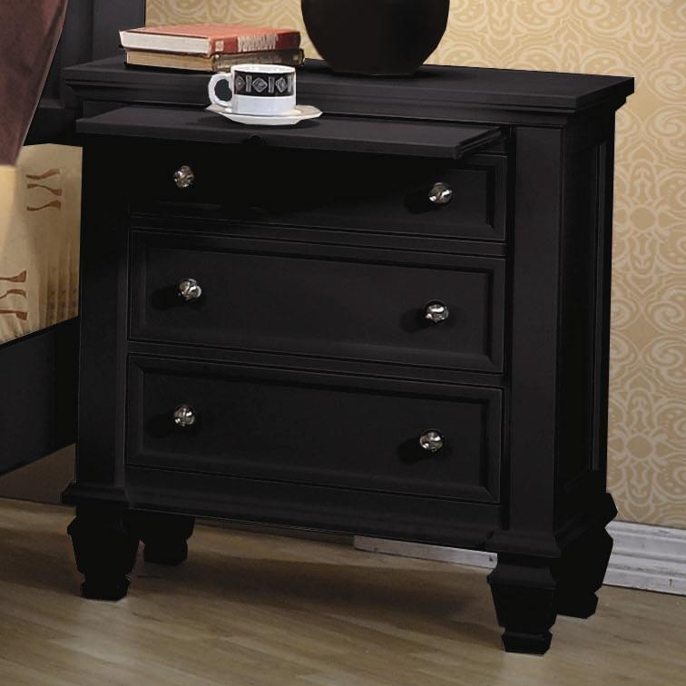 Sandy Beach  Drawer Nightstand In Black Finish By Coaster