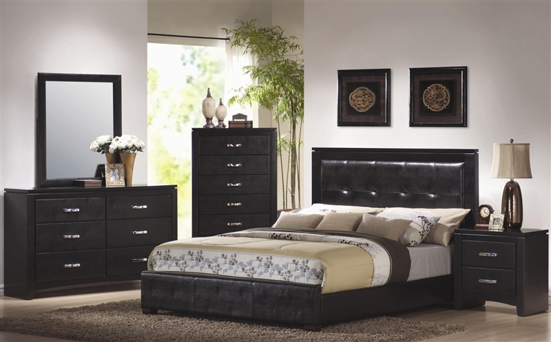 Perfect Dylan 6 Piece Bedroom Set In Black Finish With Black Vinyl Upholstery By  Coaster   201401