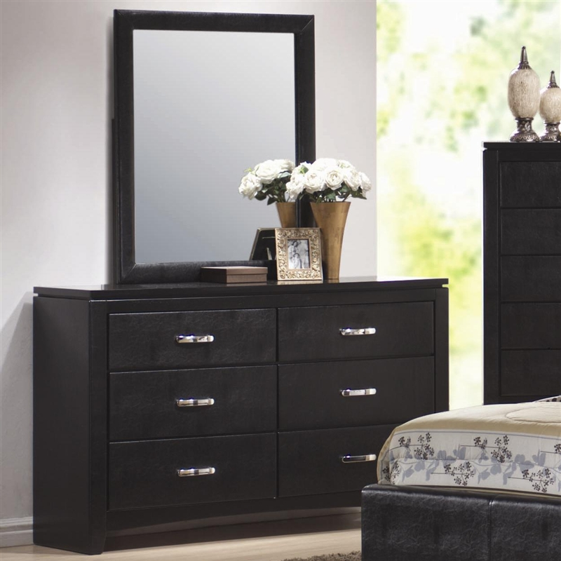 Dylan 6 Piece Bedroom Set In Black Finish With Vinyl Upholstery By Coaster 201701