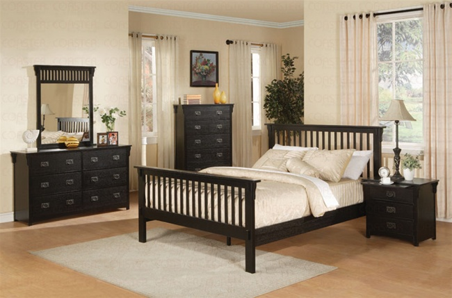 6 Piece Mission Style Bedroom Set in Distressed Black Finish by ...