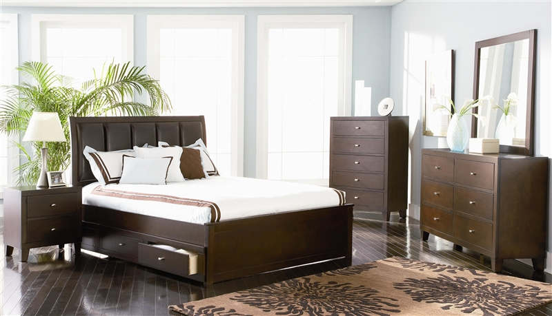 Lorretta Storage Bed 7 Piece Bedroom Set in Deep Brown Finish by Coaster -  201511