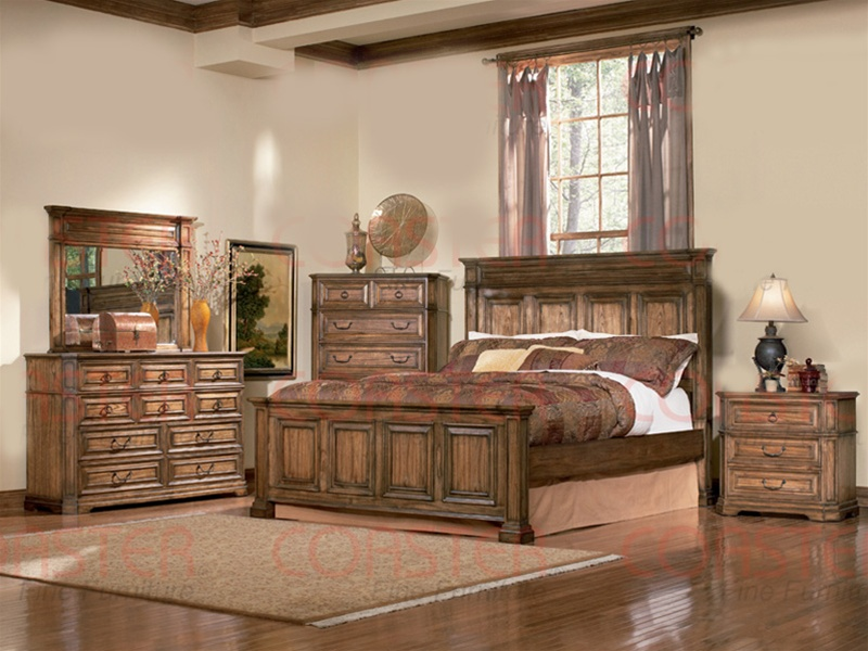 6 piece panel bed edgewood bedroom set in distressed warm brown oak finish by coaster 201621 - Oak Bedroom Sets
