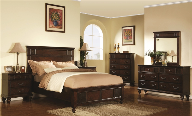 Sidney 6 Piece Bedroom Set in Dark Cherry Finish by Coaster - 202061
