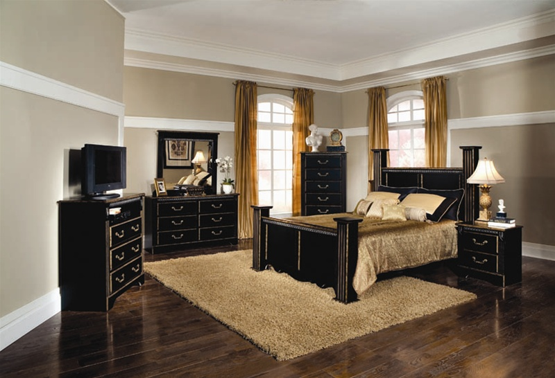 Kingsley 6 Piece Bedroom Set In Black With Brushed Gold Finish By Coaster 202121