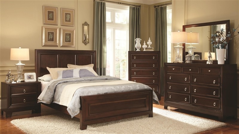 6 Piece Bedroom Set in Dark Cherry Finish by Coaster - 202191