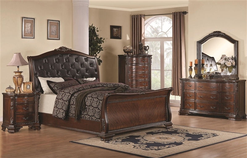 Marvelous Maddison 6 Piece Bedroom Set In Warm Cappuccino Finish By Coaster   202261