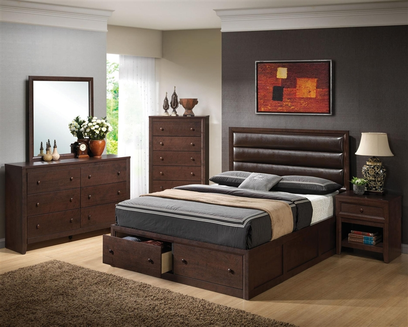 Remington 6 Pc Bedroom Set in Cherry Finish by Coaster - 202311