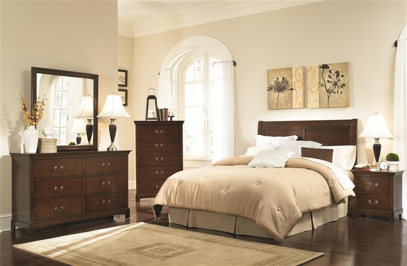 Tatiana 4 Pc Bedroom Set In Warm Brown Finish By Coaster 202391H