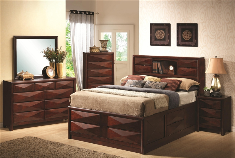coaster queen size bookcase chest bed in brown finish Bree Bookcase Bed 6 Piece Bedroom Set in Brown Cherry Finish by  coaster queen size bookcase chest bed in brown finish