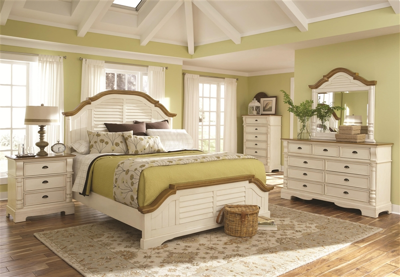 Oleta 6 Piece Bedroom Set in Buttermilk and Brown Two Tone Finish by  Coaster - 202880