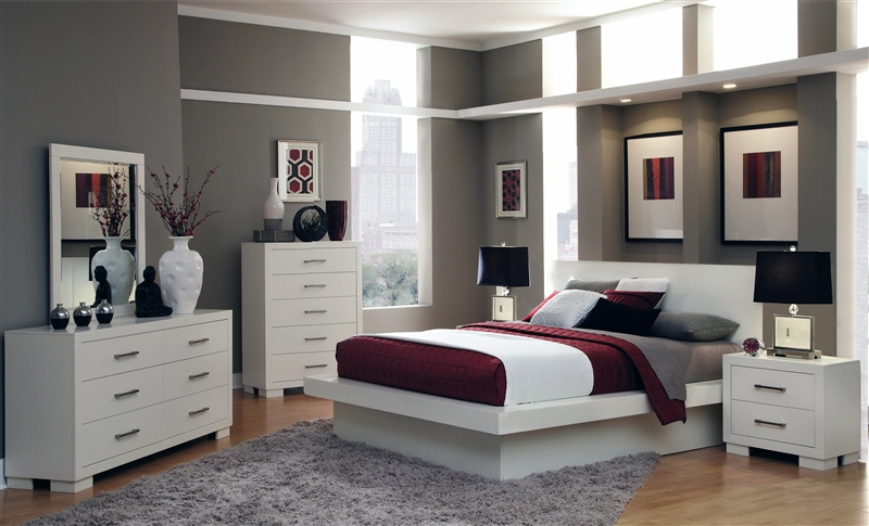 Jessica Platform Bed 6 Piece Bedroom Set In White Finish By Coaster   202990