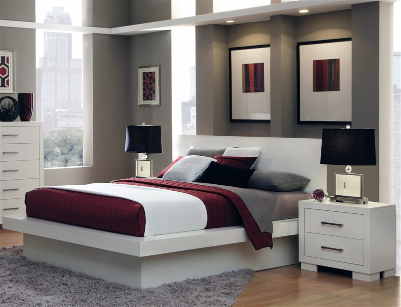 Jessica Platform Bed 6 Piece Bedroom Set in White Finish by Coaster - 202990