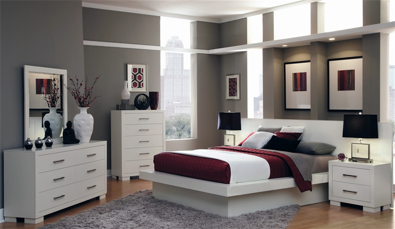 Jessica Platform Bed 9 Piece Bedroom Set With Back Panels In White Finish  By Coaster   202990BP