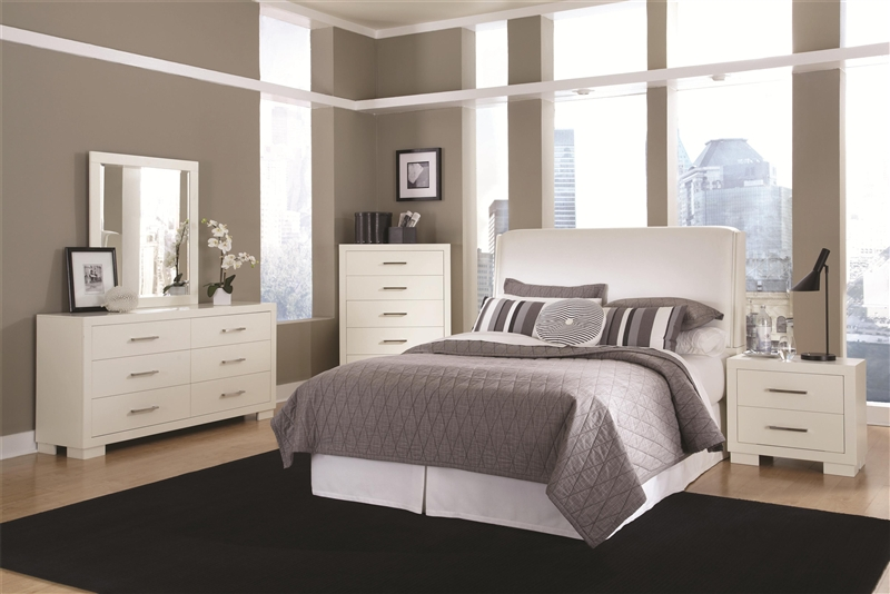 Jessica Padded Headboard Bedroom Set in White Finish by Coaster - 202999