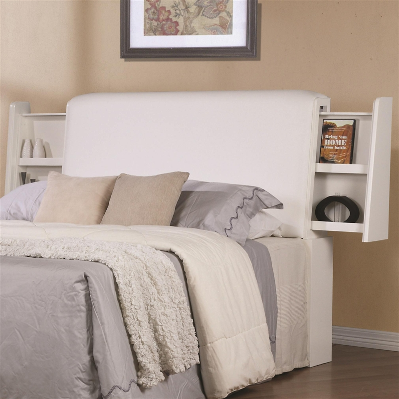 jessica padded headboard bedroom set in white finish by coaster - White Queen Headboard