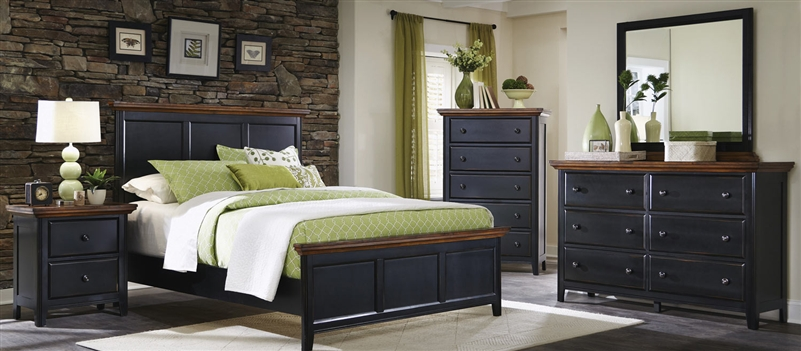 Mabel 6 Piece Bedroom Set In Distressed Black And Oak Two Tone Finish By Coaster 203151