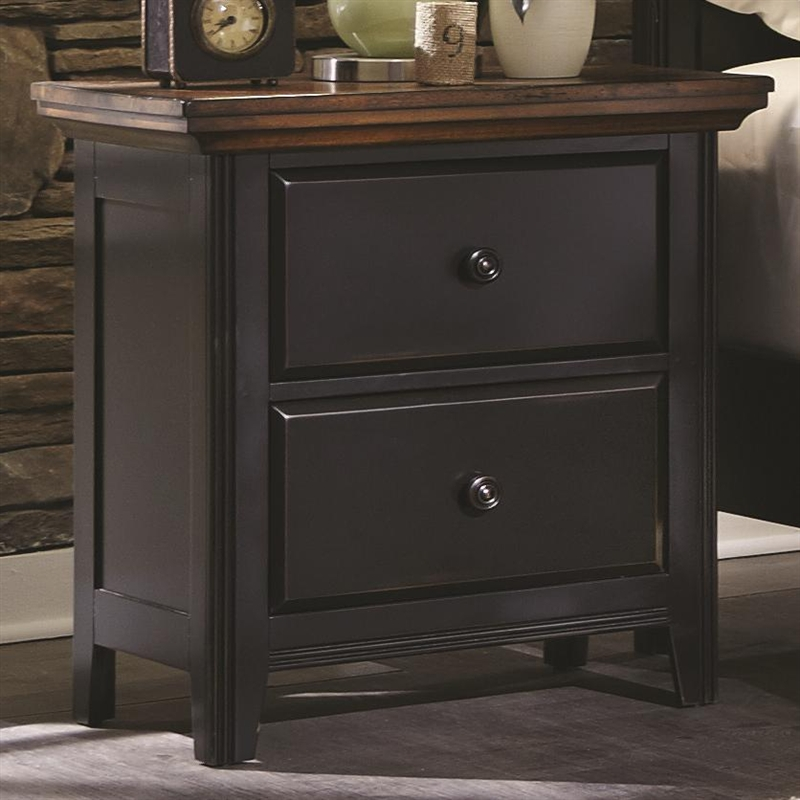 Distressed Black Bedroom Furniture mabel 6 piece bedroom set in distressed black and oak two tone