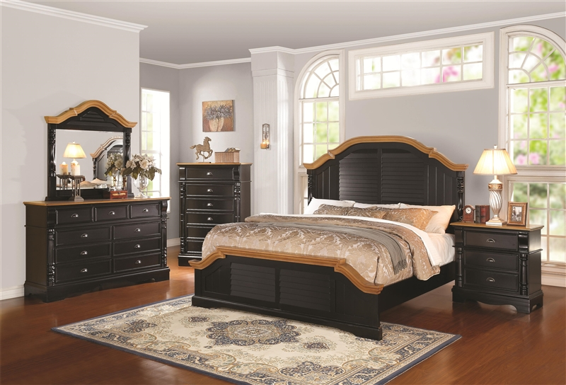 Oleta 6 Piece Bedroom Set In Black And Brown Two Tone