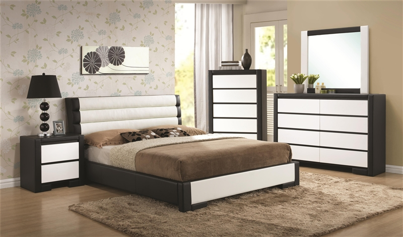 Kimball Black and White Upholstered 6 Piece Bedroom Set by Coaster - 203331