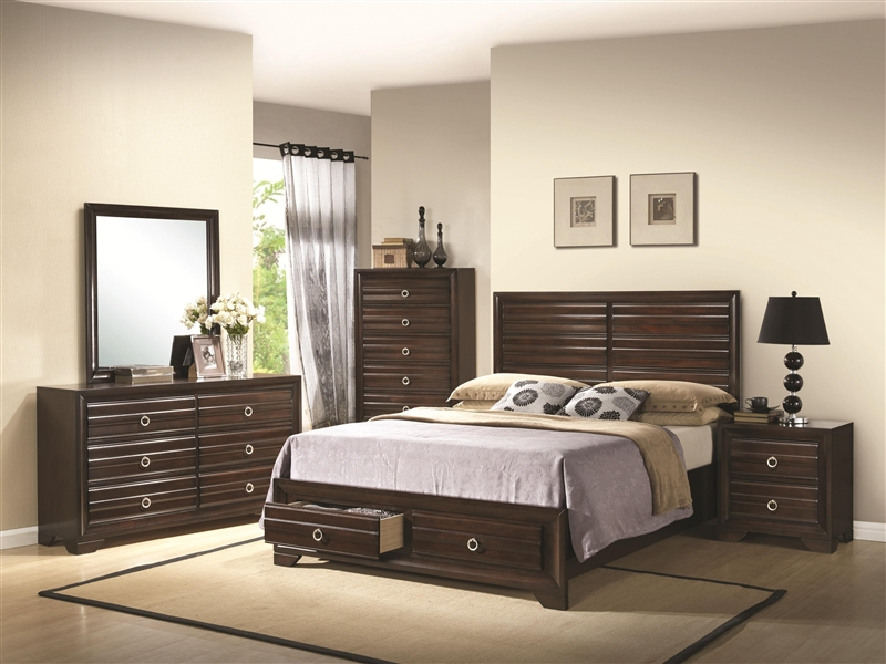 King Size Bedroom Sets With Storage bryce storage bed 6 piece bedroom set in rich cappuccino finish