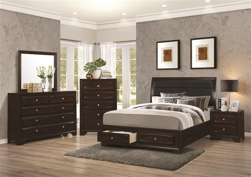 Storage Bed 6 Piece Bedroom Set in Cappuccino Finish by Coaster - 203481